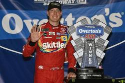 Kyle Busch, Joe Gibbs Racing, Toyota Camry Skittles Red White & Blue celebrates his win