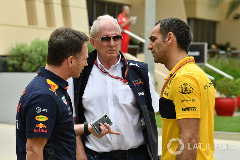 Christian Horner, Red Bull Racing Team Principal, Dr Helmut Marko, Red Bull Motorsport Consultant, Cyril Abiteboul, Renault Sport F1 Managing Director