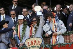 Podium: winner Emerson Fittipaldi, Lotus, second place François Cevert, Tyrrell, third place George Follmer, Shadow