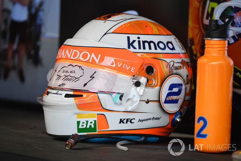 El casco de Stoffel Vandoorne, McLaren