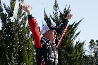 John Hunter Nemechek, Chip Ganassi Racing, Chevrolet Camaro Chevrolet Fire Alarm Services, Inc. celebrates in victory lane