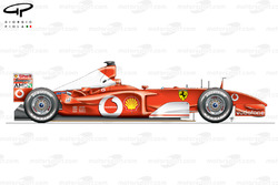 Vue latérale de la Ferrari F2002