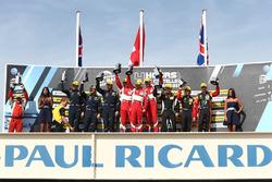 LMGTE podium: winners Duncan Cameron, Matt Griffin, Aaron Scott, Spirit of Race, second place Salih Yoluc, Euan Hankey, Nicki Thiim, TF Sport, third place Robert Smith, Jody Fannin, Jonathan Cocker JMW Motorsport