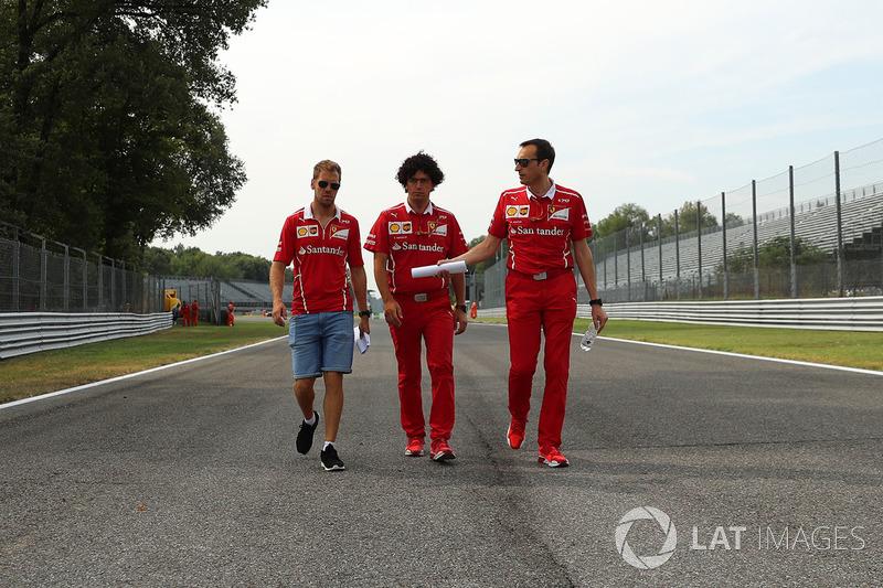 Sebastian Vettel, Ferrari walks the track, Riccardo Adami, Ferrari Race Engineer