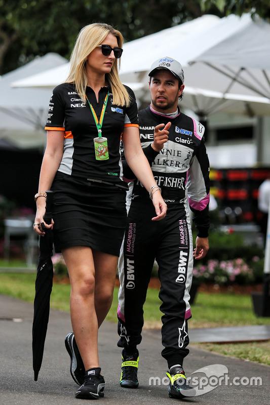 Sergio Perez, Sahara Force India F1; Victoria Helyar, Sahara Force India F1 Team