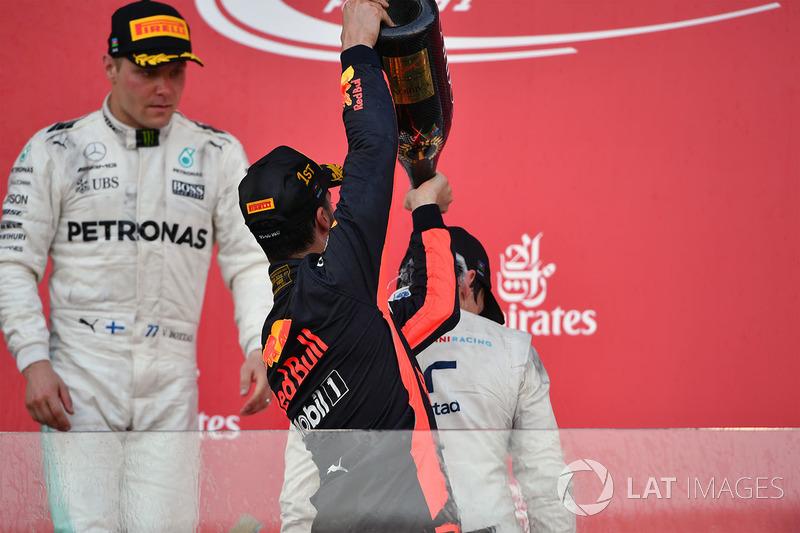 1. Daniel Ricciardo, Red Bull Racing; 3. Lance Stroll, Williams