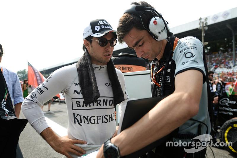Sergio Perez, Sahara Force India F1 con Tim Wright, Sahara Force India F1 Team Race Engineer
