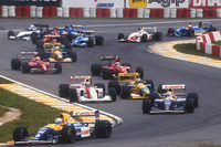 Start: Ricardo Patrese, Williams Renault, Nigel Mansell, Williams Renault, Ayrton Senna, McLaren Honda, Michael Schumacher, Benetton Ford