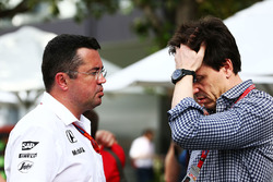 Eric Boullier, McLaren Racing Director with Toto Wolff, Mercedes AMG F1 Shareholder and Executive Di