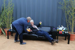 (L to R): Johnny Herbert, Sky Sports F1 Presenter with Damon Hill, Sky Sports Presenter at the Sahara Force India F1 Team Fan Zone at Woodlands Campsite