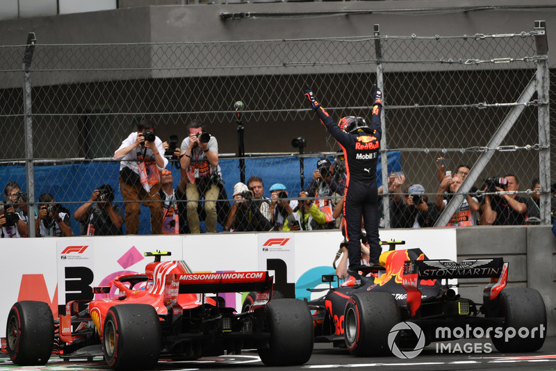 Race winner Max Verstappen, Red Bull Racing RB14 celebrates in Parc Ferme