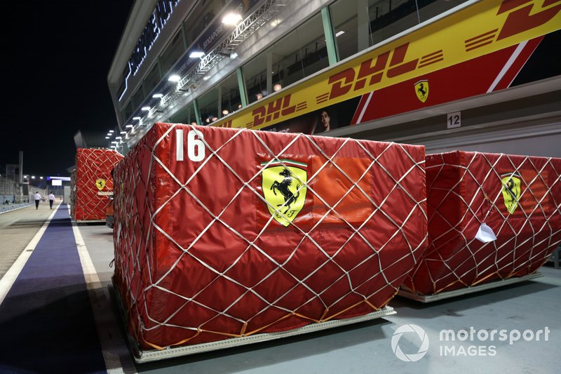 Ferrari freight in the pit lane