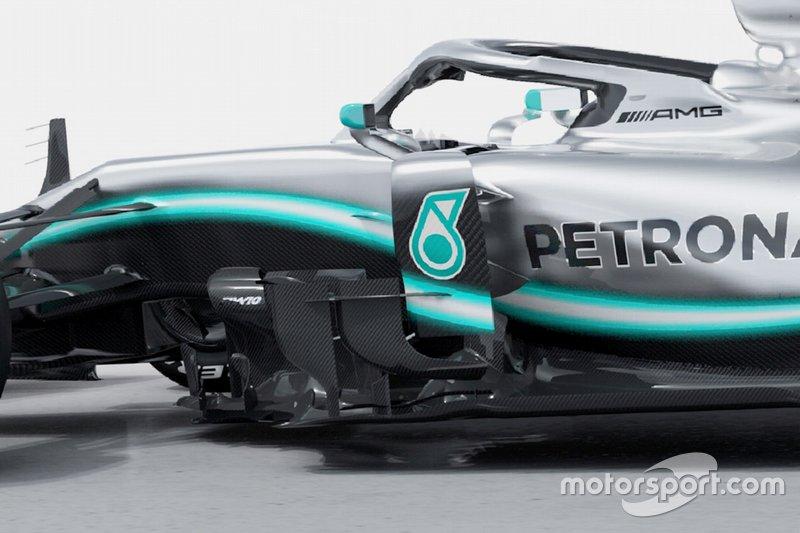 Mercedes-AMG F1 W10 sidepod, bargeboard detay