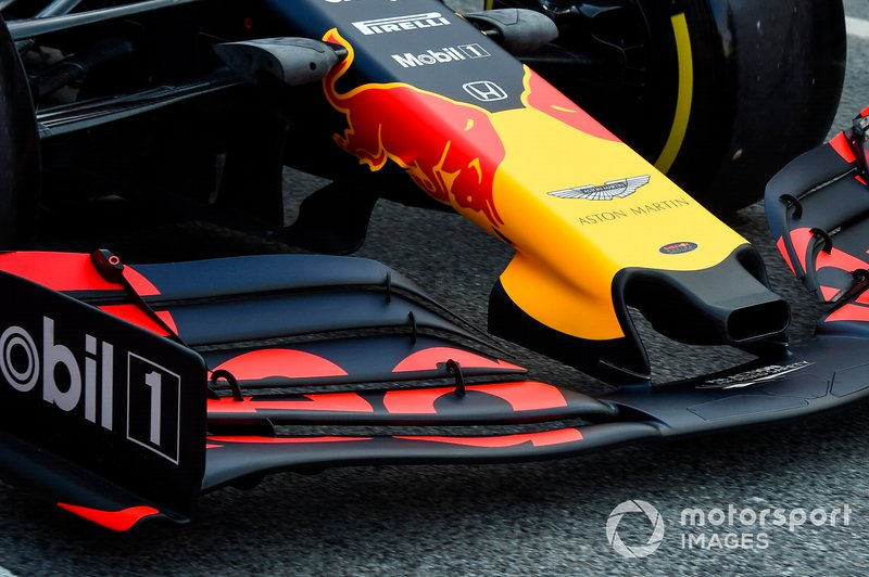 Max Verstappen, Red Bull Racing RB15 burun detay