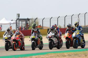 Marc Marquez, Repsol Honda Team, Cal Crutchlow, Team LCR Honda, font un essai de départ