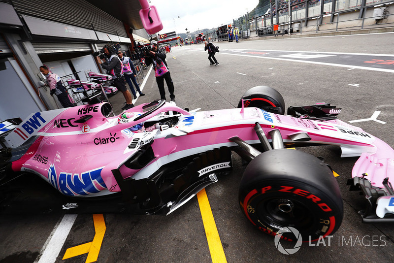 Sergio Perez, Racing Point Force India VJM11, exits his pit garage