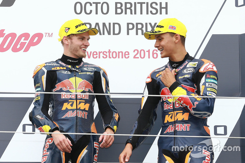 Podium: race winner Brad Binder, Red Bull KTM Ajo, third place Bo Bendsneyder, Red Bull KTM Ajo