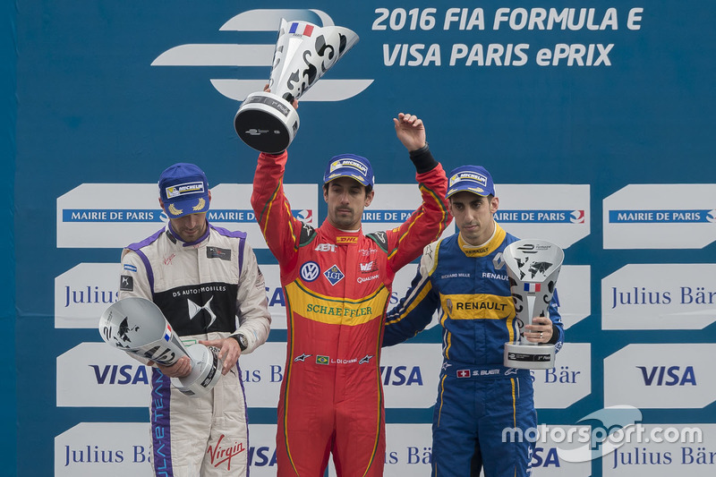Podium: winner Lucas di Grassi, ABT Schaeffler Audi Sport, second place Jean-Eric Vergne, DS Virgin Racing, third place Sébastien Buemi, Renault e.Dams