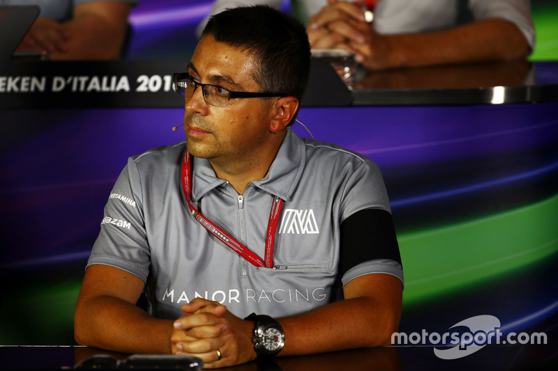 Luca Furbatto, Manor Racing Head of Design in the FIA Press Conference