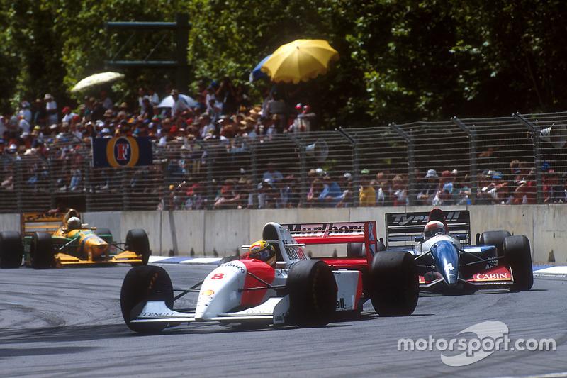 Ayrton Senna, McLaren MP e Andrea de Cesaris, Tyrrell