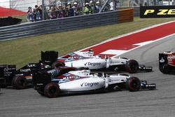 Валттери Боттас, Williams FW38; Фелипе Масса, Williams FW38 и Нико Хюлькенберг, Force India VJM09