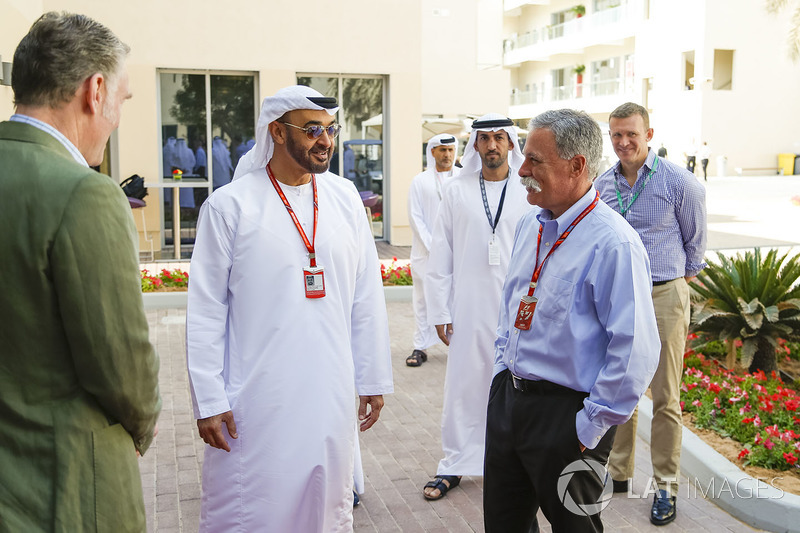 Sean Bratches, Formula One Managing Director, Commercial Operations, HH General Sheikh Mohammed bin Zayed bin Sultan Al Nahyan, Crown Prince of Abu Dhabi and Chase Carey, Chief Executive Officer and Executive Chairman of the Formula One Group