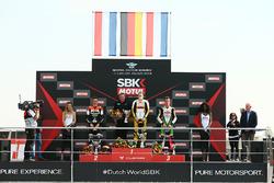 Podium SSP300: Race winner Luca Grunwald, second place Glenn Van Straalen, third place Scott Deroue