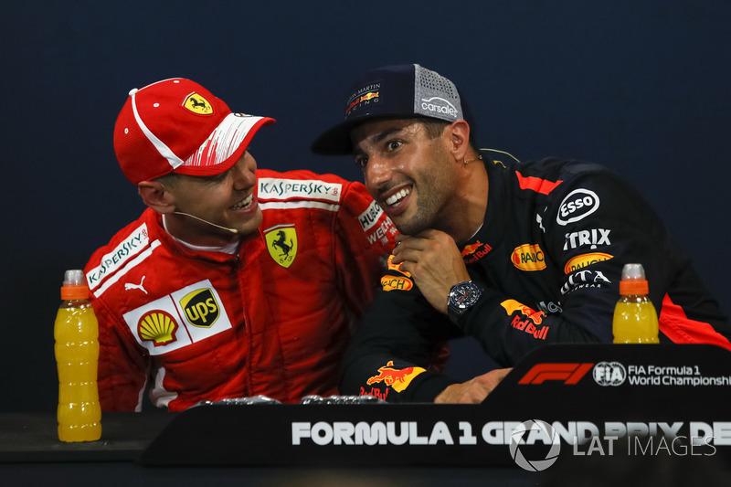 Себастьян Феттель, Ferrari, и Даниэль Риккардо, Red Bull Racing