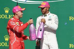 Race winner Lewis Hamilton, Mercedes AMG F1, second place Sebastian Vettel, Ferrari