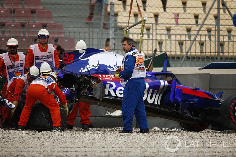 Hartley after his massive FP3 crash