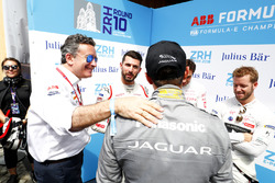 Alejandro Agag, CEO, Formula E, congratulates Mitch Evans, Jaguar Racing, on his pole postion