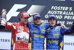 Podium: Race winner Giancarlo Fisichella, Renault F1 Team, second place Rubens Barrichello, Ferrari, third place Fernando Alonso, Renault F1 Team