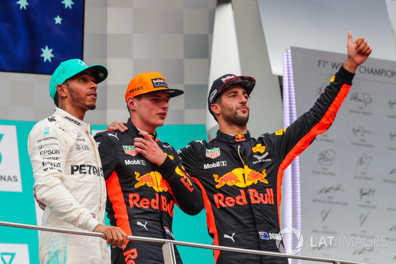 Race winner Lewis Hamilton, Mercedes AMG F1 Max Verstappen, Red Bull Racing and Daniel Ricciardo, Red Bull Racing celebrate on the podium