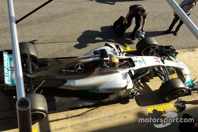 Lewis Hamilton, Mercedes AMG F1 W08 mit Finne