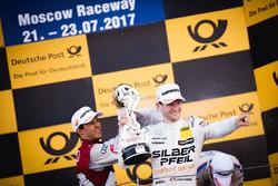 Podium: Mattias Ekström, Audi Sport Team Abt Sportsline, Audi A5 DTM en Maro Engel, Mercedes-AMG Tea