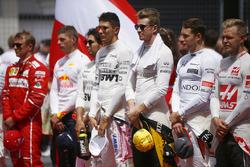 Kimi Raikkonen, Ferrari, Max Verstappen, Red Bull Racing, Sergio Perez, Force India, Esteban Ocon, Force India, Nico Hulkenberg, Renault Sport F1 Team, Stoffel Vandoorne, McLaren ve Kevin Magnussen, Haas F1 Team