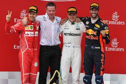 Podium: 1. Valtteri Bottas, Mercedes AMG F1; 2. Sebastian Vettel, Ferrari; 3. Daniel Ricciardo, Red Bull Racing