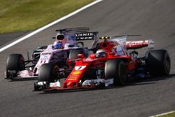 Kimi Raikkonen, Ferrari SF70H, passes Sergio Perez, Sahara Force India F1 VJM10
