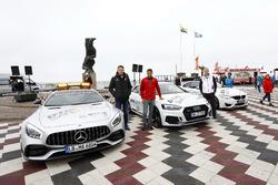 Paul Di Resta, Mercedes-AMG Team HWA, Mercedes-AMG C63 DTM, Loic Duval, Audi Sport Team Phoenix, Audi RS 5 DTM, Maxime Martin, BMW Team RBM, BMW M4 DTM with the safety cars