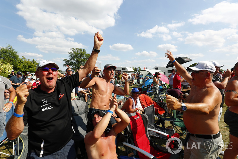 England fans celebrate the Lewis Hamilton, Mercedes AMG F1, pole position and England World Cup football result