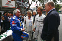 Keke Rosberg is reunited with his 1982 Williams FW08 Cosworth in a demonstration run with son Nico Rosberg, who took the wheel of his 2016 Mercedes W07 Hybrid. Prince Albert speaks to the pair on the grid