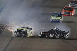 Noah Gragson, Kyle Busch Motorsports Toyota, Justin Haley, GMS Racing Chevrolet, crash