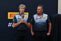 Roberto Boccafogli, Pirelli Head of F1 Communications and Mario Isola, Pirelli Sporting Director at the Pirelli 2018 launch
