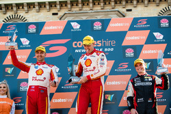 Podium: second place Fabian Coulthard, Team Penske Ford, Race winner Scott McLaughlin, Team Penske Ford, third place  Tim Slade, Brad Jones Racing Holden
