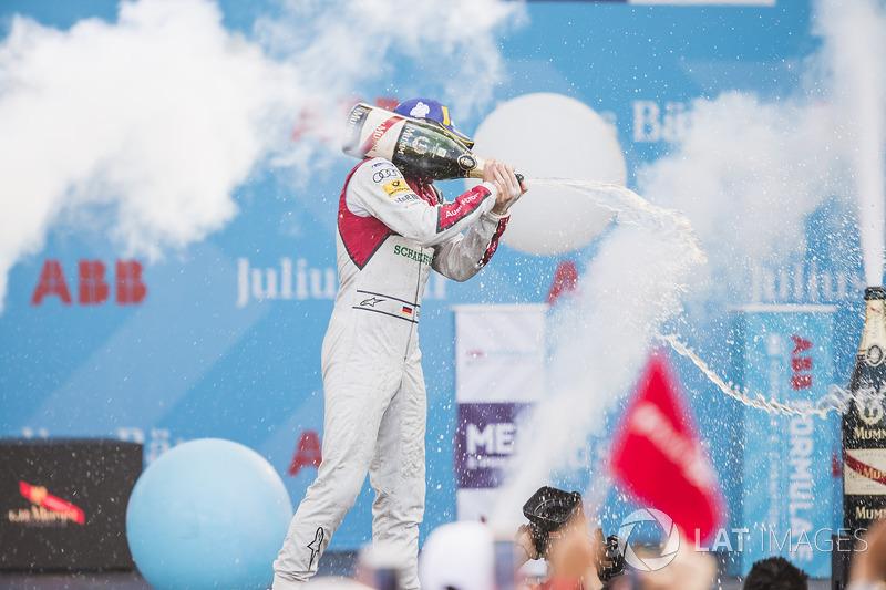 Daniel Abt, Audi Sport ABT Schaeffler, celebrates on the podium after winning the race