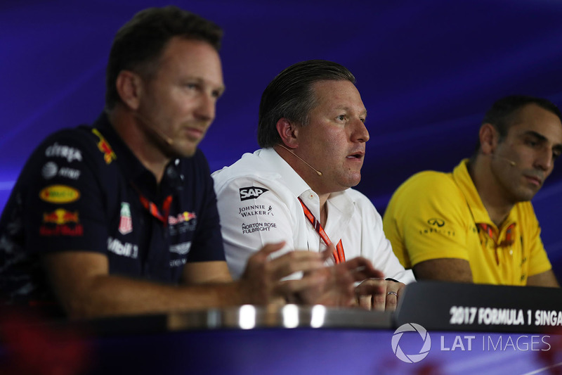 Christian Horner, Red Bull Racing Team Principal, Zak Brown, McLaren Executive Director and Cyril Ab