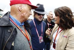 Niki Lauda, Non-Executive Chairman, Mercedes AMG F1, Owen Wilson speak to Tanja Bauer, Sky German television
