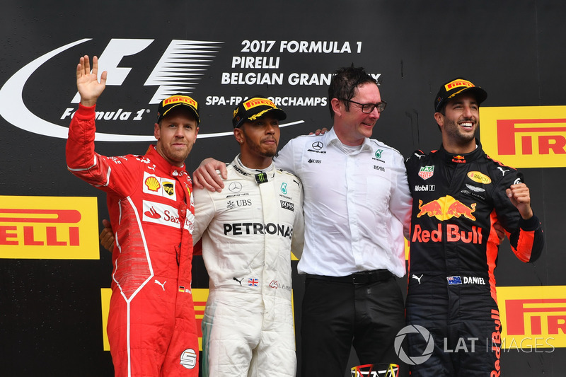 Belçika GP - Kazanan Lewis Hamilton, 2. Sebastian Vettel, 3. Daniel Ricciardo