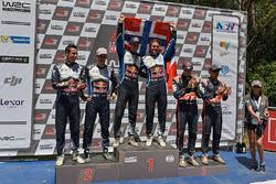 Podium: winners Jari-Matti Latvala, Miikka Anttila, Volkswagen Motorsport, second place Sébastien Og