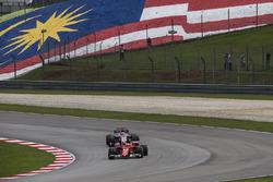 Sebastian Vettel, Ferrari SF70H and Sergio Perez, Sahara Force India VJM10